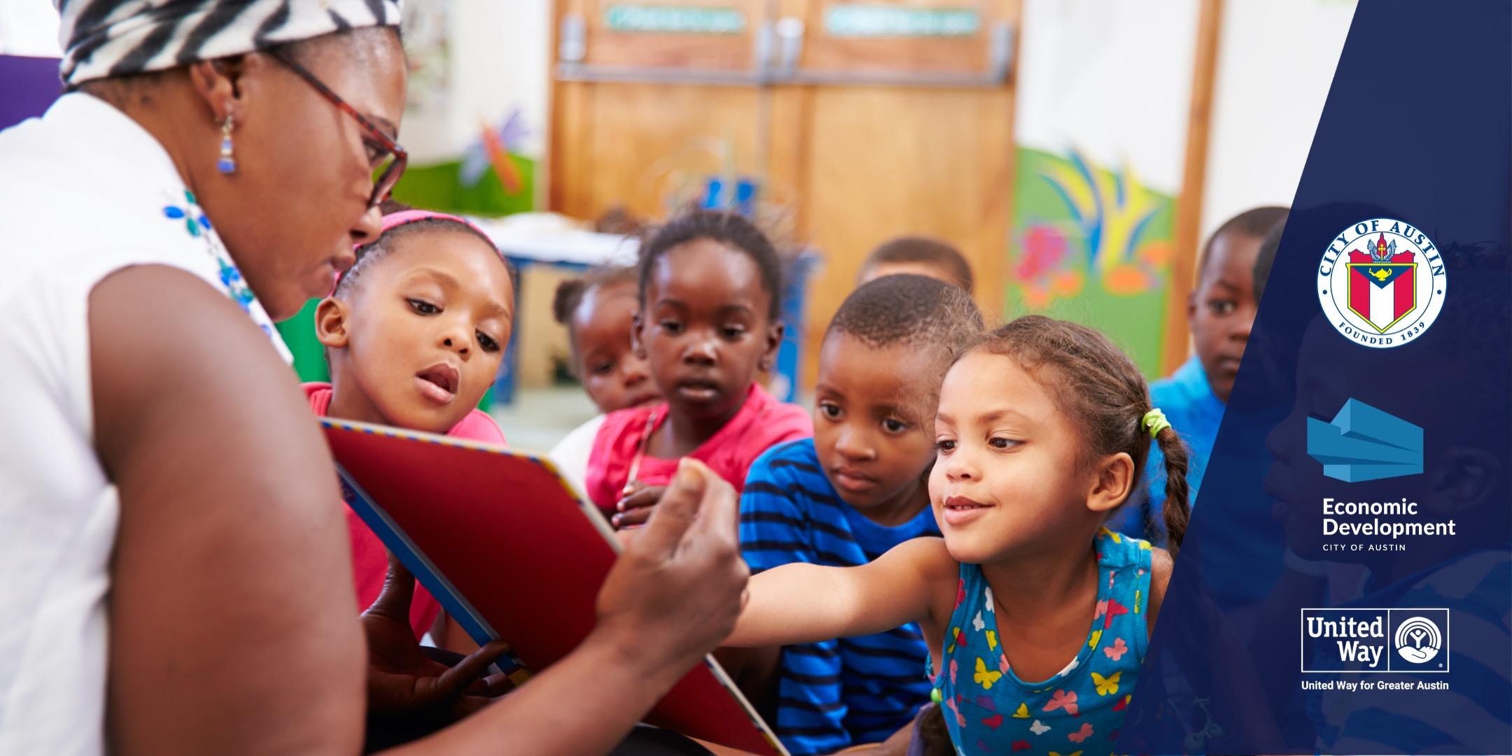 Child care teacher reading to children