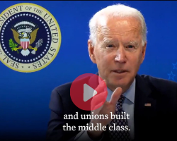 President Joe Biden addresses workers' right to form a union