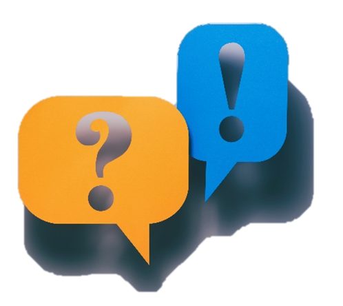 question mark and exclamation point in a speech bubble