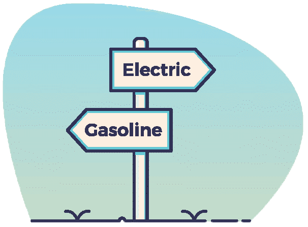 Image of post with two arrows. Electric is on one arrow pointing one way and Gas is on the other arrow pointing the other way